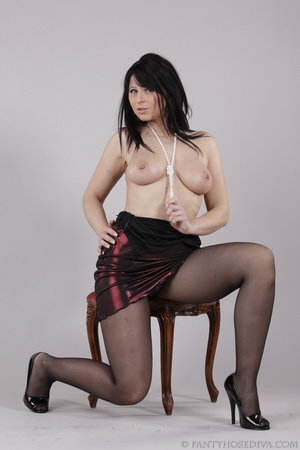 Classy gal with dark hair in black hosie - XXX Dessert - Picture 13