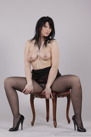 Classy gal with dark hair in black hosie - XXX Dessert - Picture 14