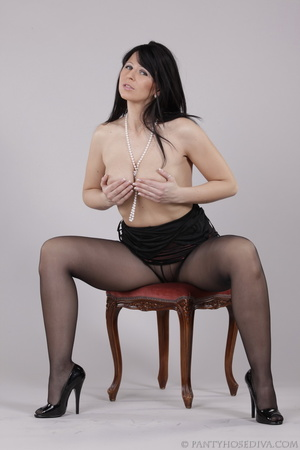 Classy gal with dark hair in black hosie - XXX Dessert - Picture 15