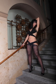 brunette fancy staircase wearing