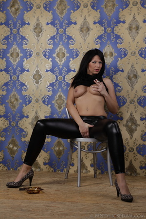 Hot brunette in shiny black leggings is  - XXX Dessert - Picture 13
