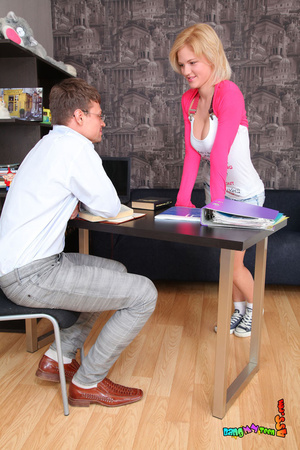 First-class vamp in a pink and white top and denim skirt takes the tutor's tool up the ass on a black couch. - XXXonXXX - Pic 3