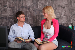 First-class vamp in a pink and white top and denim skirt takes the tutor's tool up the ass on a black couch. - XXXonXXX - Pic 5