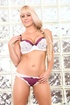 Buxom blonde sheds adorable bra and panty set before orally pleasing mans
