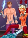Ahsoka Tano gets fucked with a light saber and other bdsm implemets