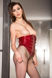 brunette hottie red corset