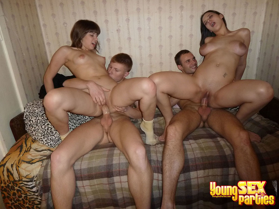 Two Couples Conjoin In A Small Bed In A Series Of Impressive Sex Positions