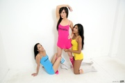 three playful friends let
