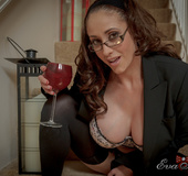 Captivating mare in glasses gets down to her black lacy lingerie.
