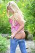 Slutty blonde in jeans and pink top and panties goes nude to show all
