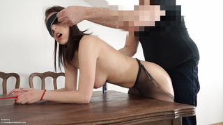 blindfolded, bondage, pantyhose, table