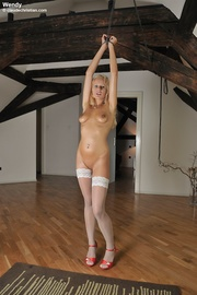 blonde babe white stockings