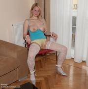 babe, bondage, stockings, white
