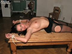 black, bondage, skirt, table
