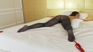 black, bondage, glasses, pantyhose