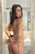 bondage, brunette, public, shower