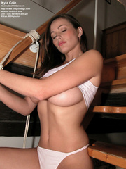 sultry brunette white panties