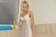 enchanting teen soaks her