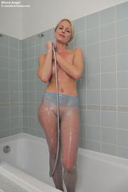 smiling blonde blue pantyhose