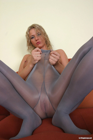 blue-eyed blonde shows legs