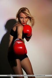 hot blonde fighter posing