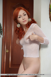 redhead revealing white mesh