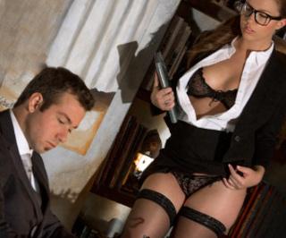 ponytailed brunette secretary glasses