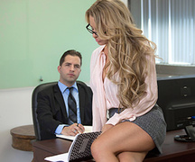 brunette, office sex, pantyhose, tanned