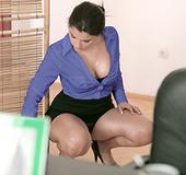 Boobilicious ponytailed secretary seducing her swarthy colleague to sex