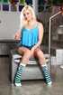 Superb trollop in a blue top and striped socks slurps on a stiffy at the
