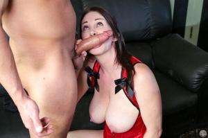 Pretty babe in a red corset sucks a schl - XXX Dessert - Picture 5
