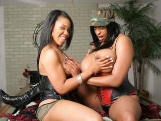 Big-titted ebony goddess flaunting her treasure and with - Picture 1