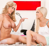 Lustful moms demonstrating teen babes how to use sex toys