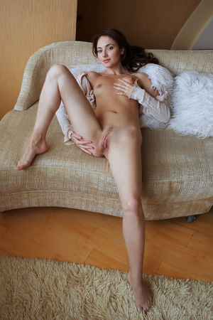 Nude brunette girl posing in a shirt on  - XXX Dessert - Picture 13