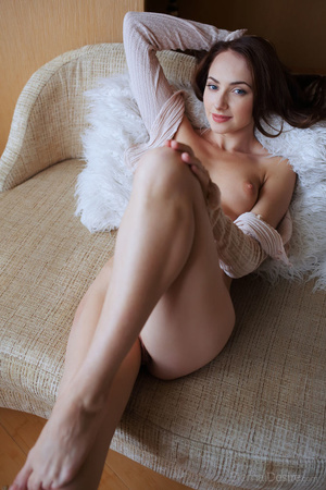 Nude brunette girl posing in a shirt on  - XXX Dessert - Picture 14