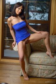busty brunette damsel blue