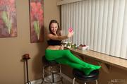 skinny teen green pantyhose