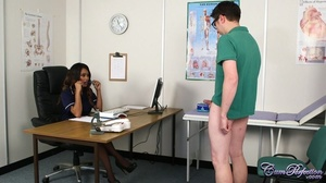 Ebony nurse takes off her blue dress scr - XXX Dessert - Picture 2