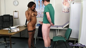 Ebony nurse takes off her blue dress scr - XXX Dessert - Picture 3