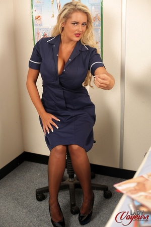 Busty blonde wearing blue scrub dress, p - XXX Dessert - Picture 4