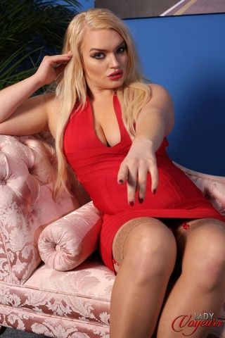 blonde bombshell displays alluring
