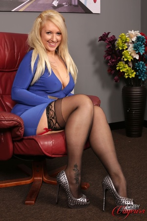 Busty blonde in hot blue dress, black st - XXX Dessert - Picture 1