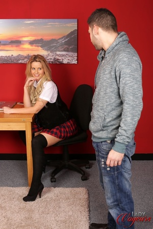 Luscious school chick wearing black and  - XXX Dessert - Picture 1