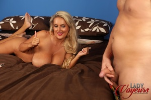 Foxy blonde seducing on a brown bed as s - XXX Dessert - Picture 8