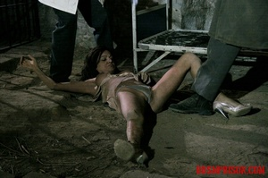 Brunette prisoner in a tattered pink dress gets whipped with a riding crop in her cell. - XXXonXXX - Pic 14