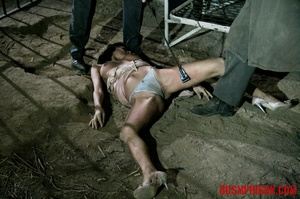 Brunette prisoner in a tattered pink dress gets whipped with a riding crop in her cell. - XXXonXXX - Pic 15