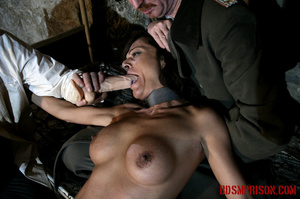 Babe bound to a bed gets choked and forced to suck on a dildo. - XXXonXXX - Pic 8
