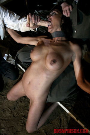 Babe bound to a bed gets choked and forced to suck on a dildo. - XXXonXXX - Pic 9