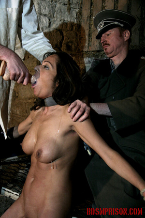 Babe bound to a bed gets choked and forced to suck on a dildo. - XXXonXXX - Pic 14