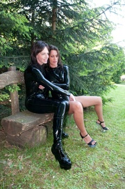 two brunette hotties black